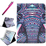 iPad Air Case, JCmax Protective Cover New Colorful Premium Flip Foilo Style Slim PU Leather Wallet Case Smart Cover Bulit in Credit Card Slots and Kickstand Feature For Apple iPad Air (iPad 5, 5th Generation Released 2013),Come with One Responsive Stylus -[Elephant Pattern]