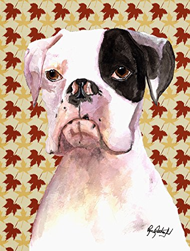 Caroline's Treasures RDR3007CHF Cooper Fall Leaves Boxer Flag Canvas, Large, Multicolor For Sale