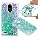 LG Stylo 3 Case, LG Stylo 3 Plus Liquid Case, KAMII 3D Sparkle Moving Stars Bling Glitter Floating Dynamic Flowing Soft Rubber TPU Gel Rubber Clear Case Cover for LG Stylo 3 Plus (LS777) (Green)
