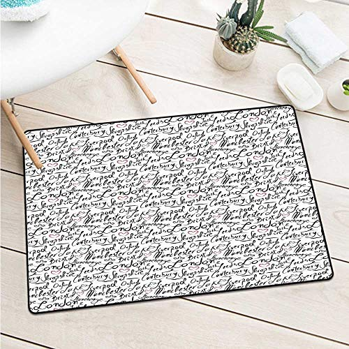 Custom&blanket England Inlet Outdoor Door Mat Famous Cities in Monochrome Hand Lettering Style Bristol London Oxford for Entrances, Garages, Patios (W31.5 X L47.2 inch,Black White Vermilion)
