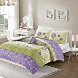 Comfort Spaces - Happy Flower Comforter Set - 5 Piece - Lilac - Adorable Printed Plaid with Floral and Butterfly - Full/Queen Size, includes 1 Comforter, 2 Shams, 1 Dec Pillow, and Valance