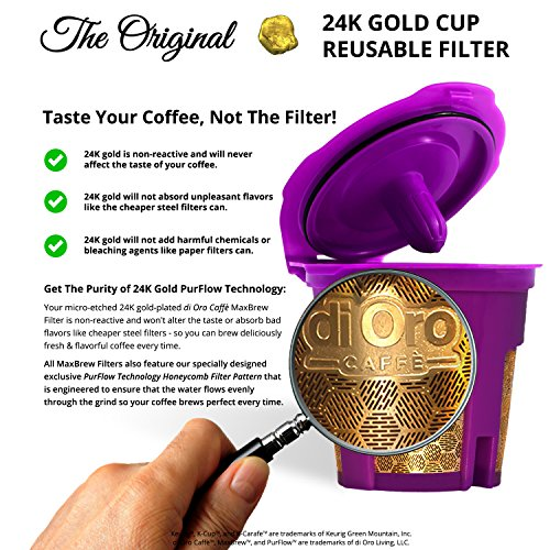 DI ORO - MaxBrew 24K GOLD K-Cup Reusable Filter for Keurig 2.0/1.0 Small Single K-Cup