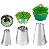 Piping Nozzles 3pcs Grass Stainless Steel Icing Piping Nozzle Tips for Cake Fondant Cupcake