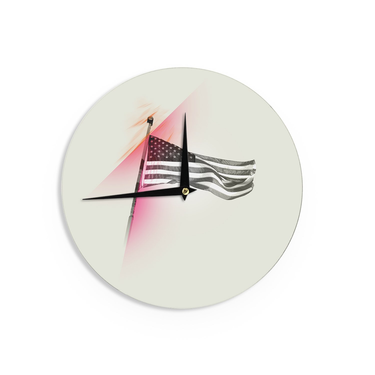 12 Kess InHouse Just L Capture The Flag Red Abstract Wall Clock