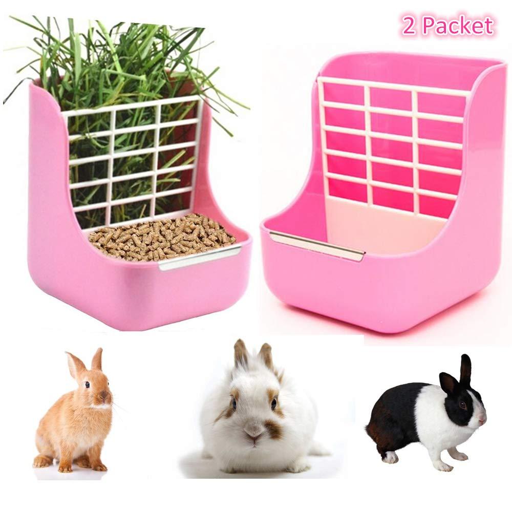 STKYGOOD Rabbit Feeders Hay Food Bin Feeder,Food Hay Feeder for Guinea Pig,Rabbit,Indoor Hay Feeder for Guinea Pig,Rabbit, Chinchilla,Feeder Bowls Use for Grass & Food (Yellow-2P) (Pink)