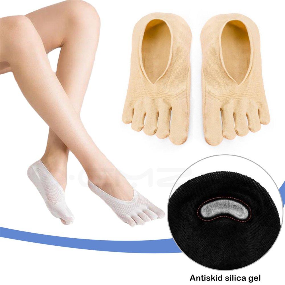 Breathable Sports Hidden Toe Socks - Running Five Fingers Crew Ankle Toe Socks, Pilates Yoga Full Toe Stockings, Gel Tab Low Cut Thin Silk Cushions, Ballet Dance Liner Pads, for Women Ladies (skin)