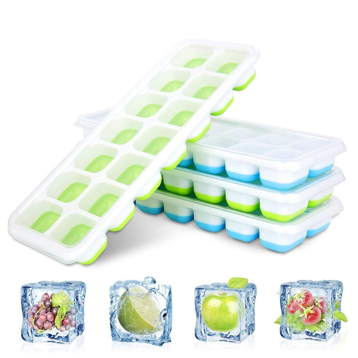 Tebery 4 Pack Ice Cube Tray, Easy Release Silicone Ice Cube Tray, No Spill, Stacking,14 Ice Molds, Easy to Use and Dishwasher Safe, 2 Blue 2 Green