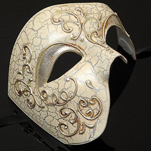 Mens Phantom of the Opera Masquerade Mask - Silver by MasqueradeParty]()