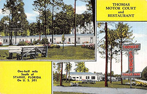 - Starke Florida Thomas Motor Court Multiview Linen Antique Postcard K21198
