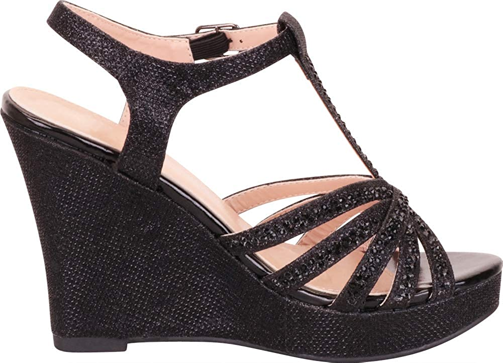 Cambridge Select Womens Open Toe T-Strap Crystal Rhinestone Chunky Platform Wedge Dress Sandal