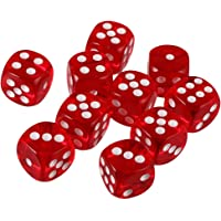 ISHARAA Pack of 10 Red Six Sided D6 Dice for Playing D&D Warhammer RPG Board Game Favours