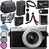 Panasonic Lumix DC-GX850 Micro Four Thirds Mirrorless Camera with 12-32mm Lens (Silver) + DMW-BLH7 Lithium Ion Battery + Charger + Sony 64GB Card + Case + Remote + Fibercloth + Tripod + Flash Bundle