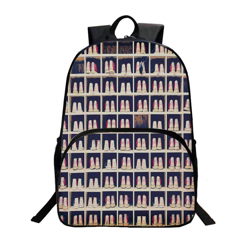Bowling Party Decorations Fashionable Backpack,Collection of Bowling Shoes in Their Rack Vintage Decorative for Boys,11.8''L x 6.2''W x 15.7''H