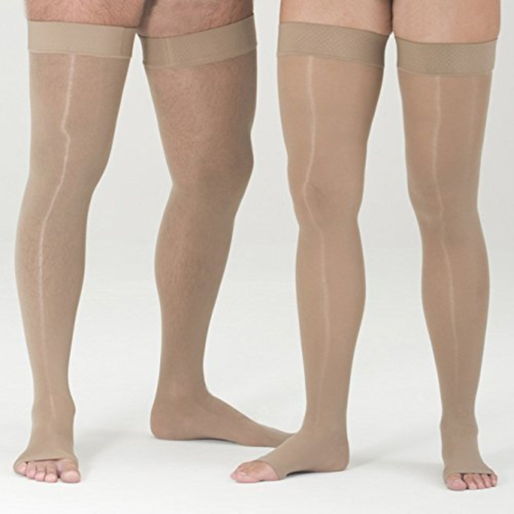 medi Assure, 20-30 mmHg,Thigh High Compression w/Silicone Top-Band Open Toe