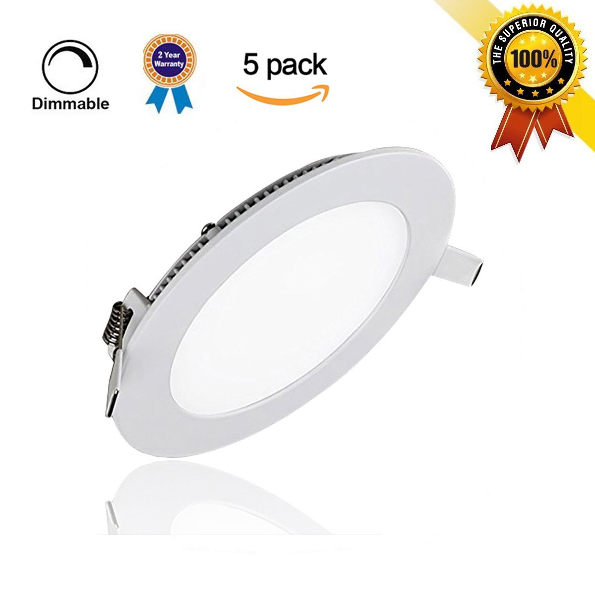 szwintec 5 Pack 6W LED Panel Light Fixtures, Dimmable Round Ultrathin LED Recessed Ceiling Light, 480lm, Cold White 5000K, Cut Hole 4.1 Inch, Downlight with 110V LED Driver