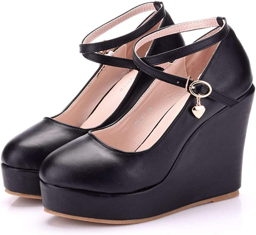 RRP £89 Ladies Womens Wedge Pumps Ankle Strap Platform Party Work Shoes  UK 5,8