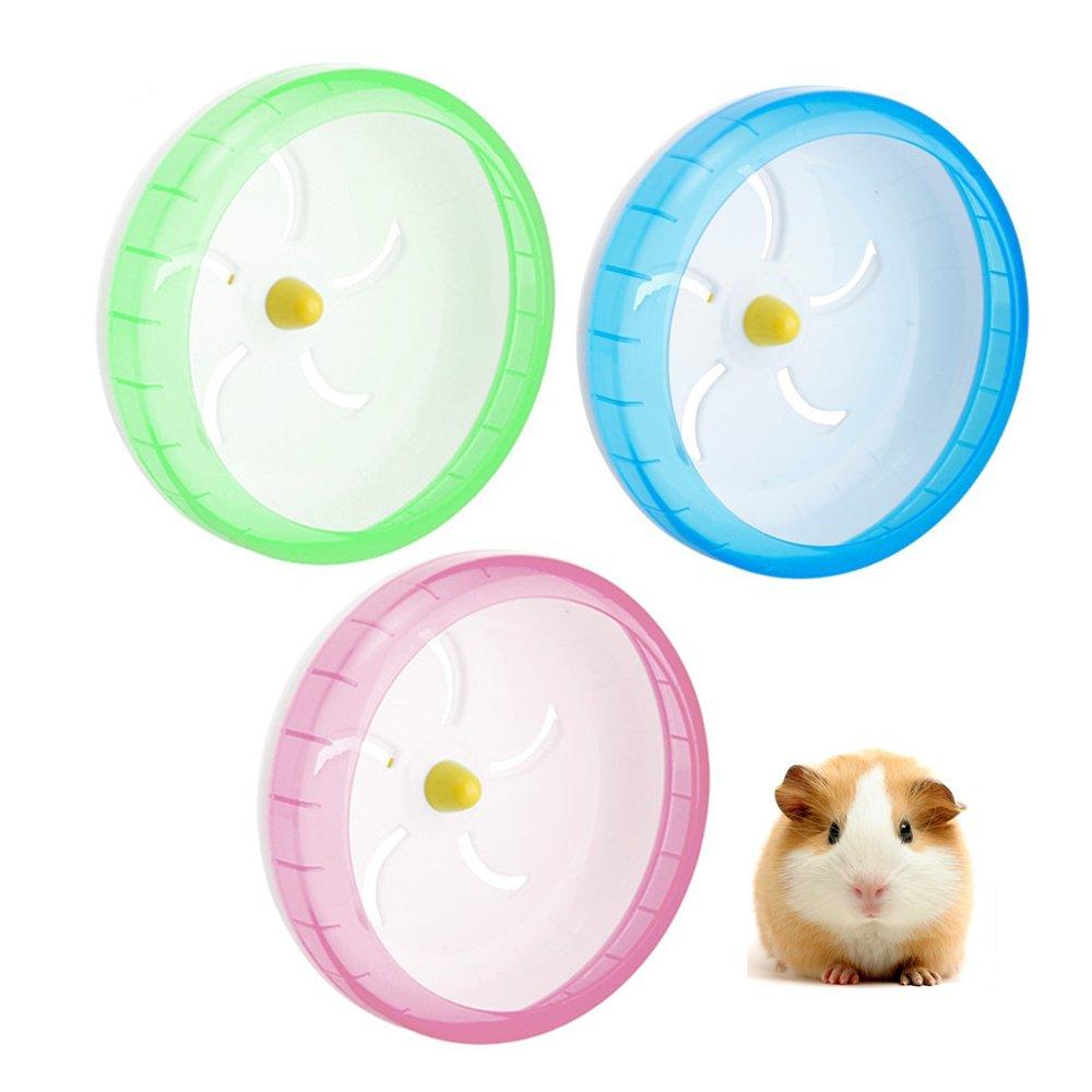 Hianiquaime Roue Exercice Silencieux Jouet Plastique pour Souris Hamster Gerbille Chinchilla 17.5cm Verte/Rose/Bleu OMGO