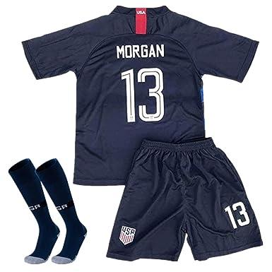b0f1aa265d0 Amazon.com: Alex Morgan #13 2018-2019 USA National Home Kids/Youth Socce  Jersey Matching & Shorts & Socks White: Clothing