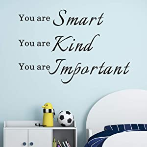 """VODOE Wall Decals for Kids Rooms, Wall Decals for Living Room, Quote Office Inspirational Classroom School Art Decor Vinyl Stickers You are Smart You are Kind You are Important 24.1"""" x 16"""""""