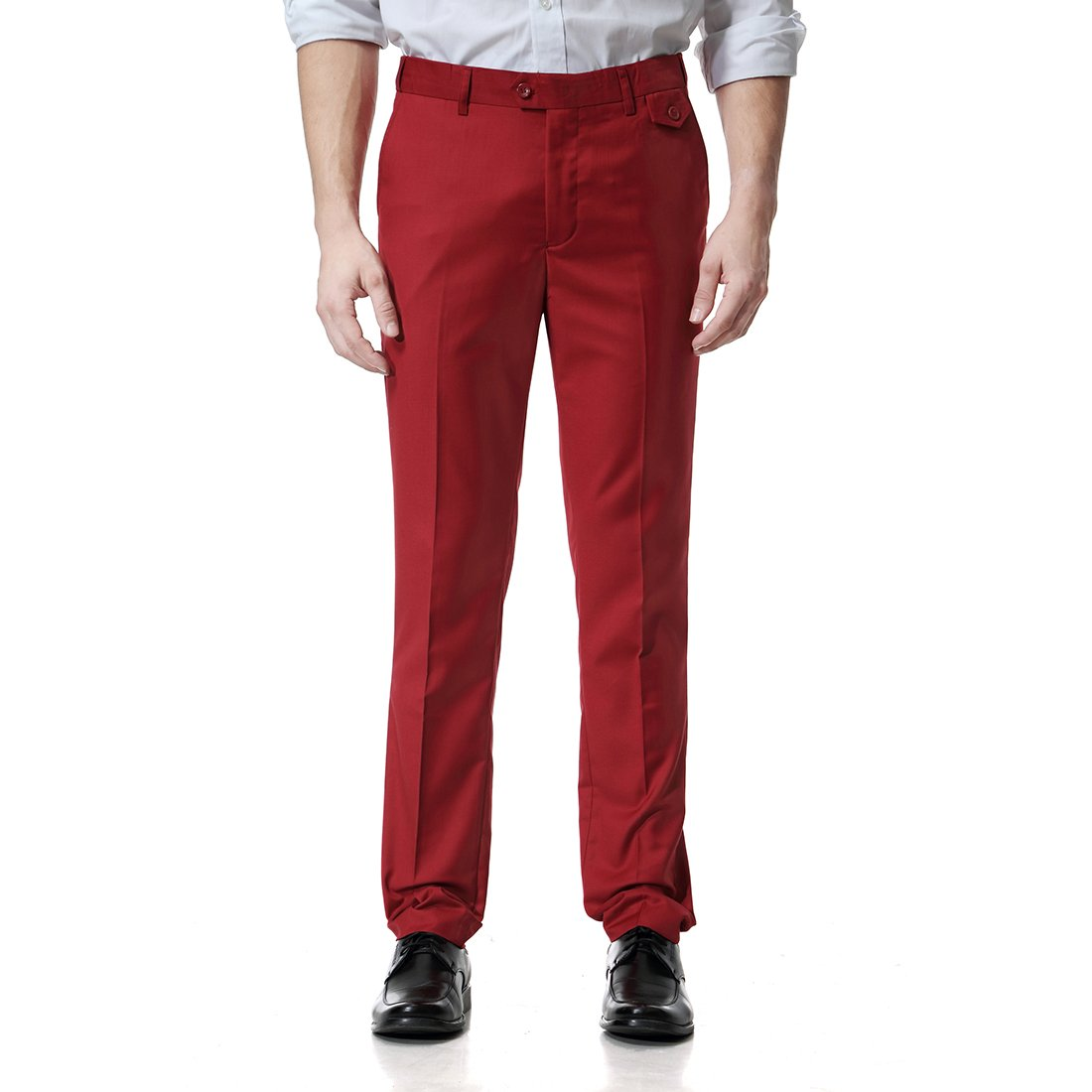 WEEN CHARM Mens Dress Pants Premium Expandable-Waist Straight-Fit Flat Front Chino Pants