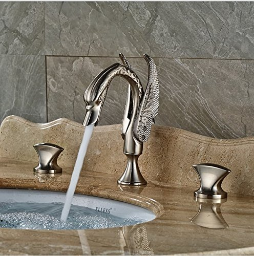 GOWE Widespread Basin Mixer Taps Deck Mount Swan Style Bathroom Sink Faucet with Dual Handle 2