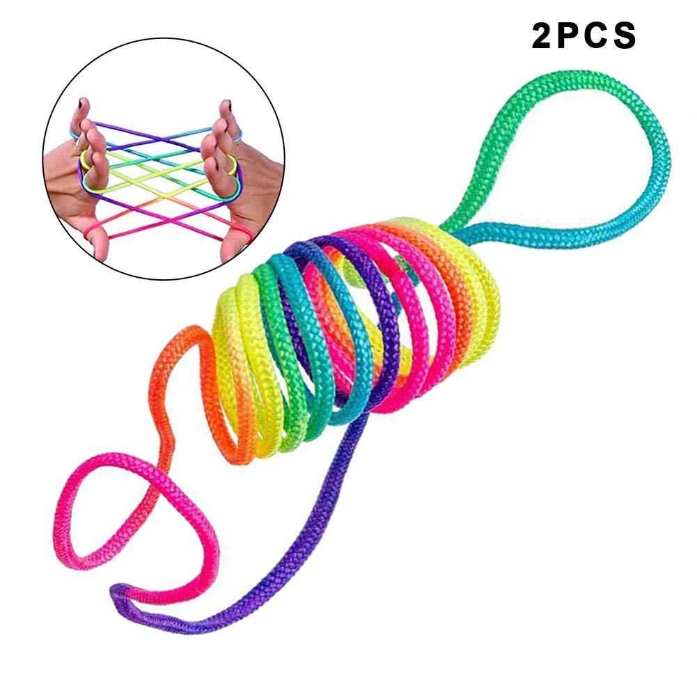 achat cheerfulus La Corde de Doigt d'arc-en-Ciel d'enfants, Le Puzzle coloré de Jouet de Fil de Corde d'arc-en-Ciel d'enfants crée diverses Figures - Paquet de 2 pas cher prix