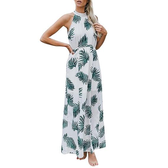 bd2e76615e3c77 Amphia Sommerkleid Damen Schulterfreies Maxikleid Abendkleid Strandkleid  Party Elegant Blumendruck Kleider Chiffon Kleid (Weiß