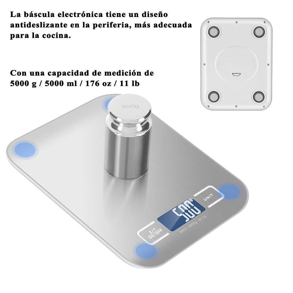 Newdora Báscula Digital para Cocina de Acero Inoxidable con Pantalla LCD Balanza de Alimentos, con función de tara, sistema de sensor de alta ...