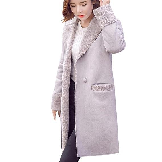 Moda Mujer Invierno Chaqueta Abrigo de ante más grueso caliente outwear lana de cordero overcoat-