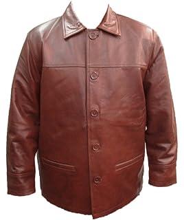 a08c02eca61 UNICORN Mens Classic Box Coat - Real Leather Jacket - Brown Nappa #B7
