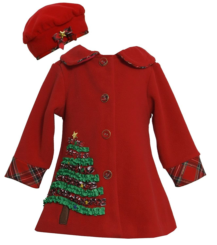 Amazon.com: Bonnie Jean Girls Christmas Tree Fleece Coat & Hat Set ...