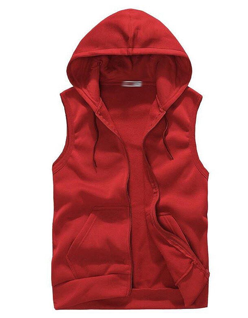 SoEnvy Mens Casual Sleeveless Sport Hoodie Zip up Vest SN070