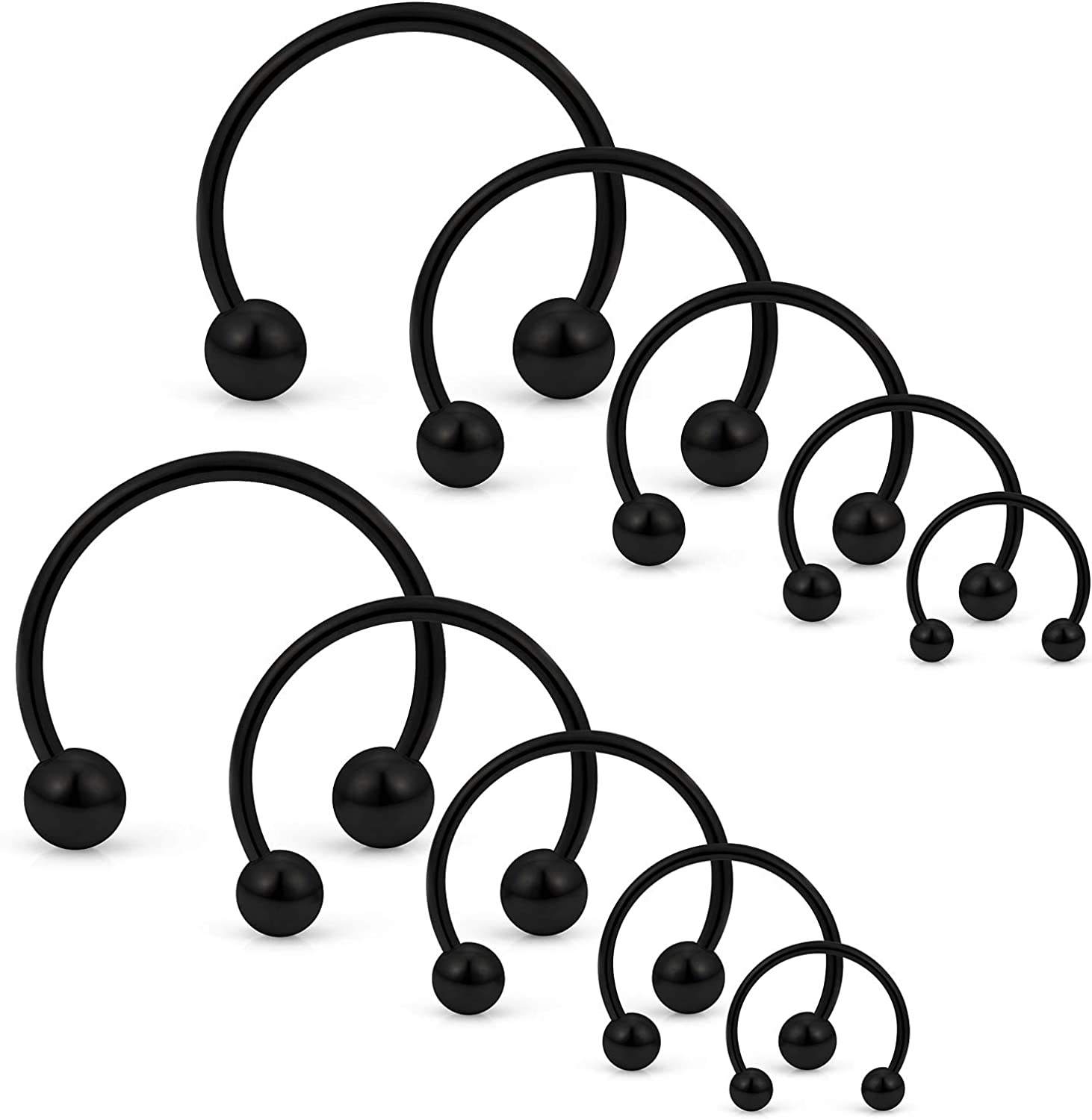 SCERRING 10PCS 20G Stainless Steel Horseshoe Septum Ring Nose Rings Hoop Helix Daith Cartilage Tragus Earrings Eyebrow Body Piercing Jewelry 6-14mm