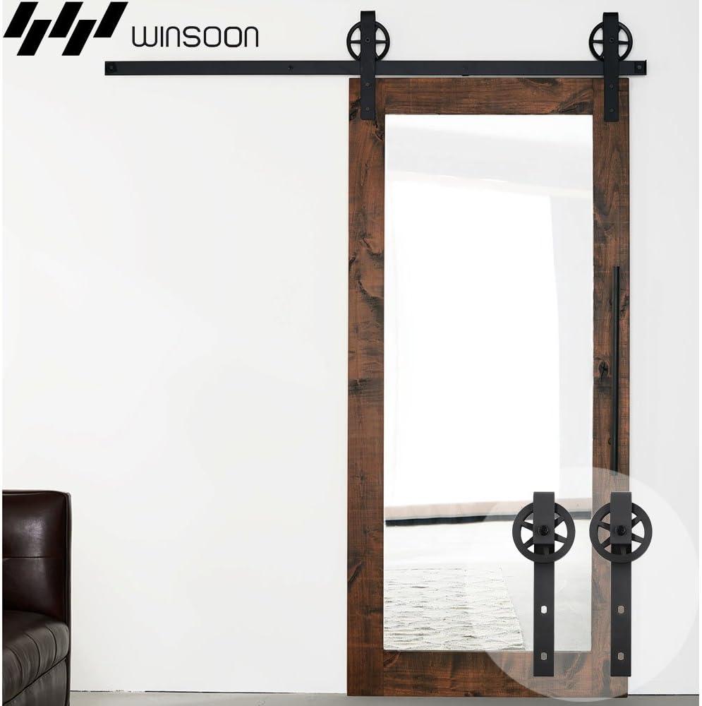 winsoon 5 ft sola puerta corrediza de granero madera Hardware armario con ruedas para pista Kit moderno gran rueda radios acero Heavy Duty Negro: Amazon.es: Bricolaje y herramientas
