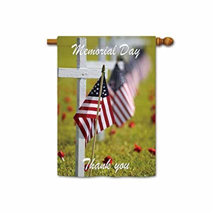 cba7323363d Amazon.com   Hamory Thank You American Military Soldiers Patriotic House  Flag Memorial Day Banner 28x40 Inch Printed Both Sides   Garden   Outdoor