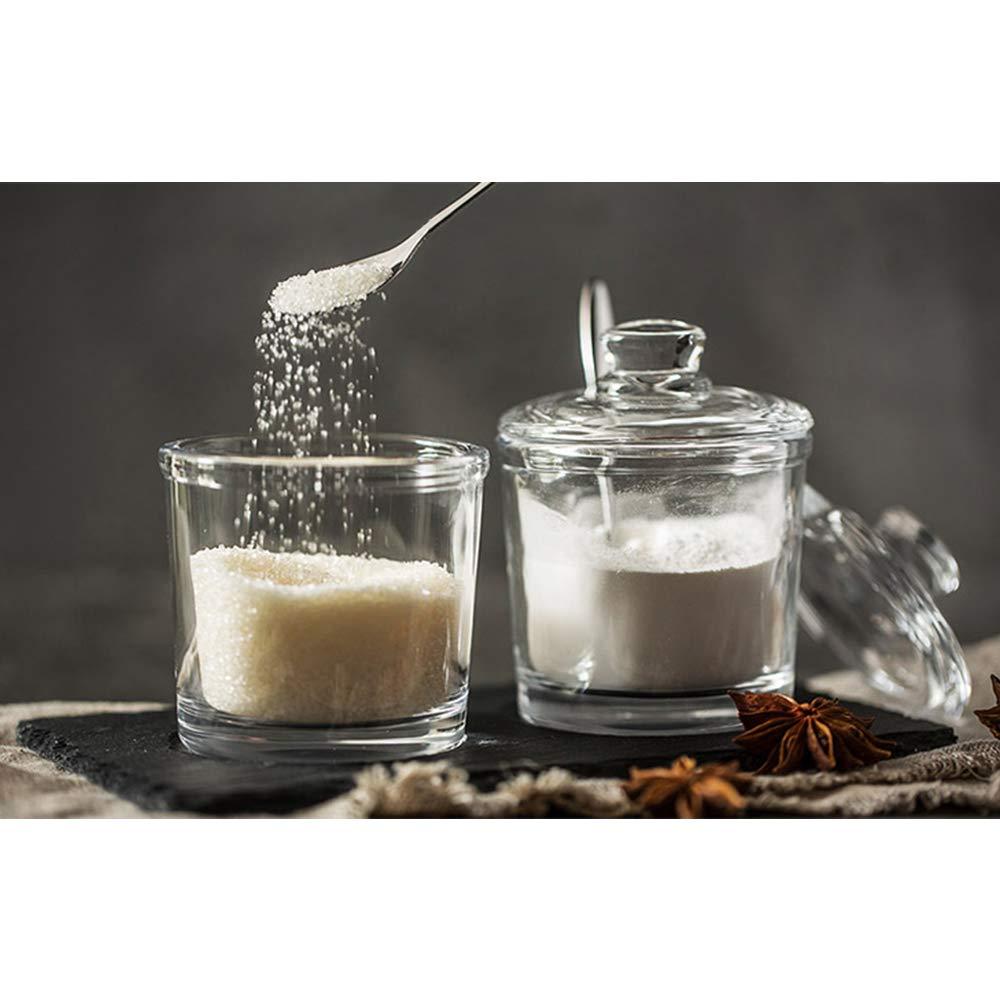 Tarro de Cristal Transparente para Especias con Tapa y Cuchara para condimentos de 6 onzas DoDola