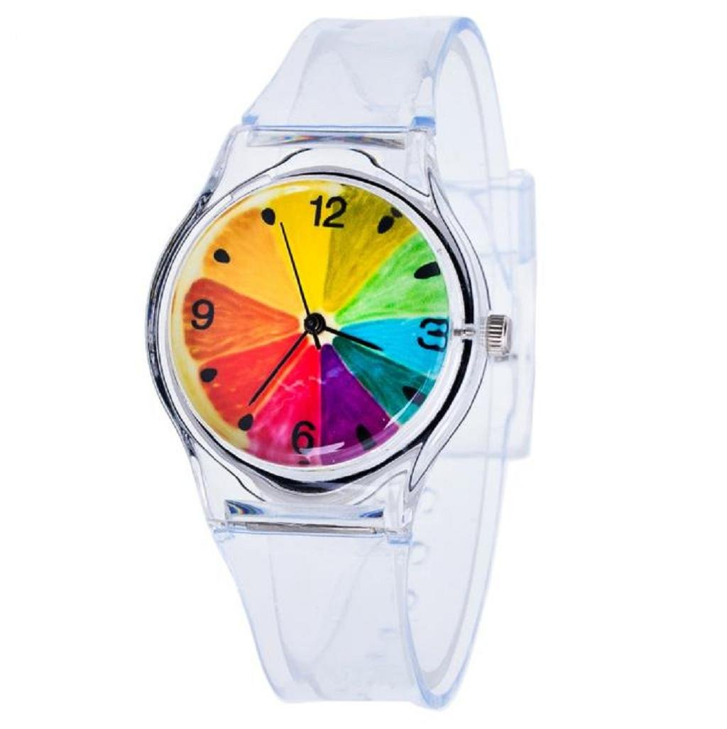 Divertido reloj transparente elaborado en silicona. Opción de múltiples diseños.