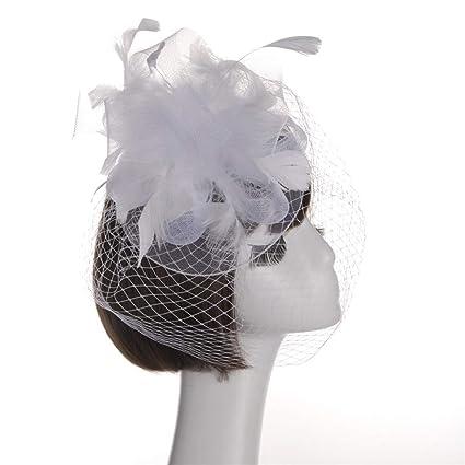 5347ea7190636 Amazon.com  Egmy Floral Mesh Veil Hat Hair Clip Fascinator Head Hoop ...