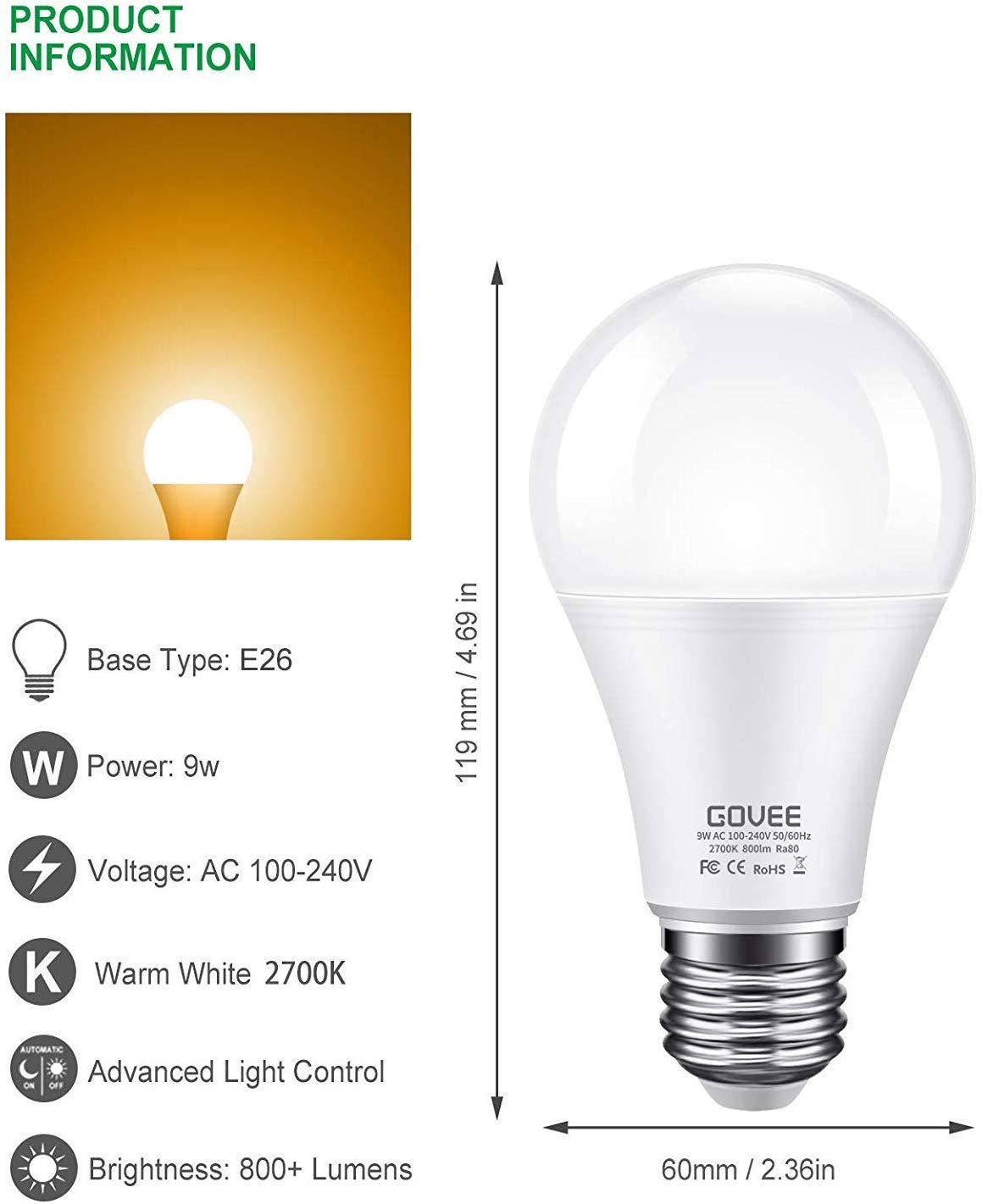 Govee Dusk To Dawn Light Bulb  9w  70 Watt Equivalent  800lm Smart Sensor Led Light Bulb  E26