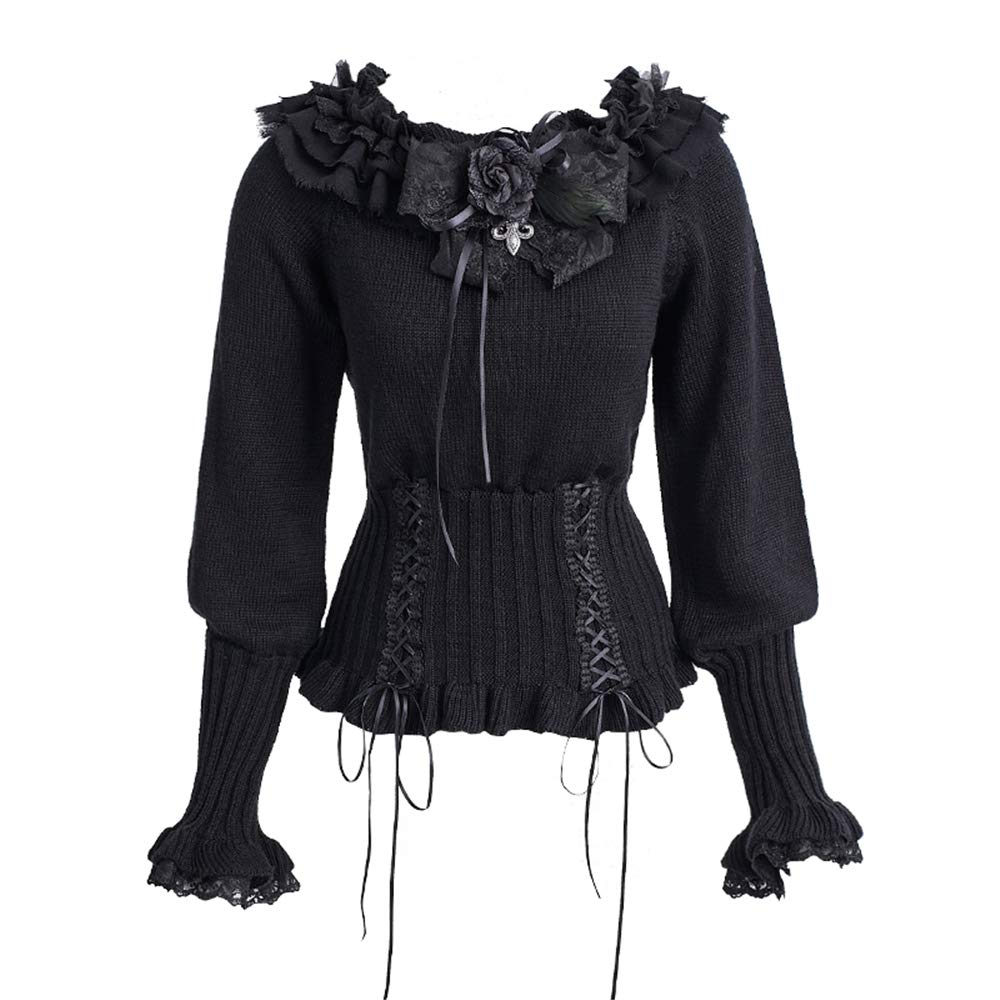 PUNK Gothic Lolita Women Black Knitted Sweaters Long Sleeve Warm Pullovers