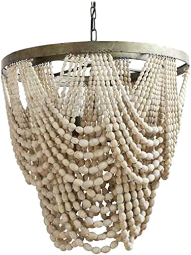 Natural Wood Beaded Chandelier with Drapery Aligned High Designer -The KIngs Bay