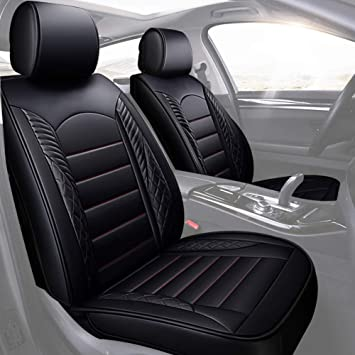 PROTECTIVE CAR SEAT COVERS PROTECTORS LEATHER LOOK UNIVERSAL SET IN BLACK