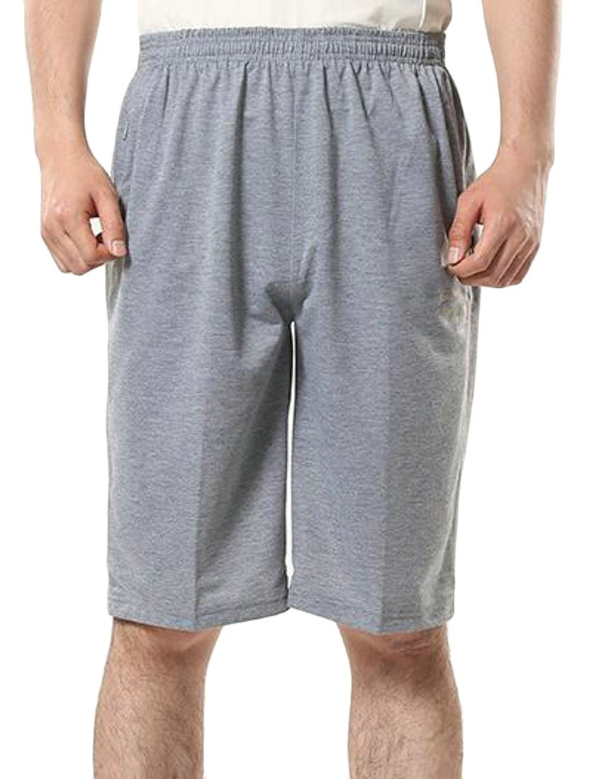 Lutratocro Mens Breathable High Waist Cotton Athletic Thin Pul Onl Loose Pure Color Short Gray M