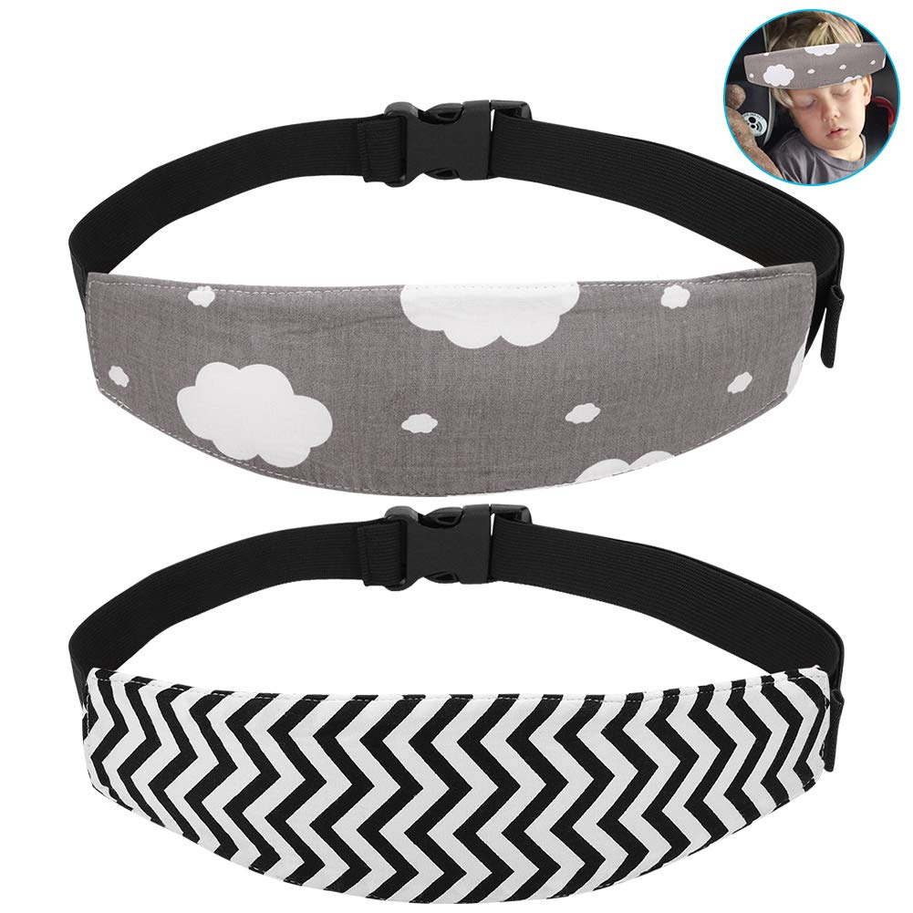 Black Wave + Pink Unicorn +Pink//Grey Cloud Pattern Accmor Baby Car Seat Head Support Band Strap 4 Pack for Car Seats Stroller Neck Relief Head Strap for Toddler Child Kids Infant