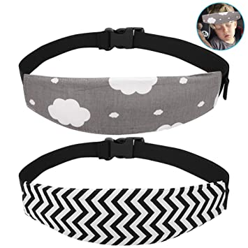 Accmor Baby Carseat Head Support Band Strap 2 Pack for Carseats Stroller Neck Relief Head Strap for Toddler Child Kids Infant Black Wave//Grey Wave