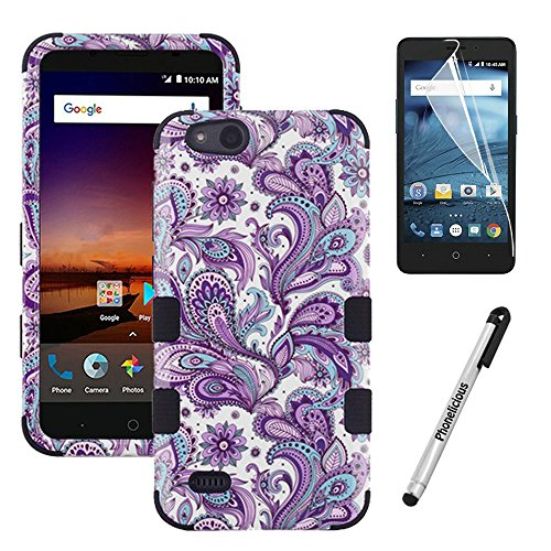 Phonelicious Rugged Series for Zte Avid 557 / Zte Zfive G C / Zte Blade Vantage / Zte Tempo Go Case - Military Grade Drop Tested with Clear Hd Screen Protector (Paisley)