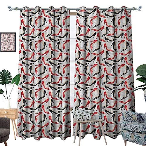 RenteriaDecor Red and Black Waterproof Window Curtain