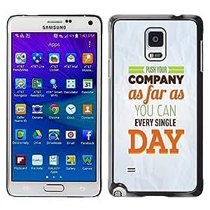 Be Good Phone Accessory // Dura Cáscara cubierta Protectora Caso Carcasa Funda de Protección para Samsung Galaxy Note 4 SM-N910 // Company Day Inspiring Paper Modern Message