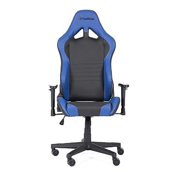 Réglable Boulies Titanium Gaming Seriesbleu Cuir Bureau Chaise De En 34LRAj5q
