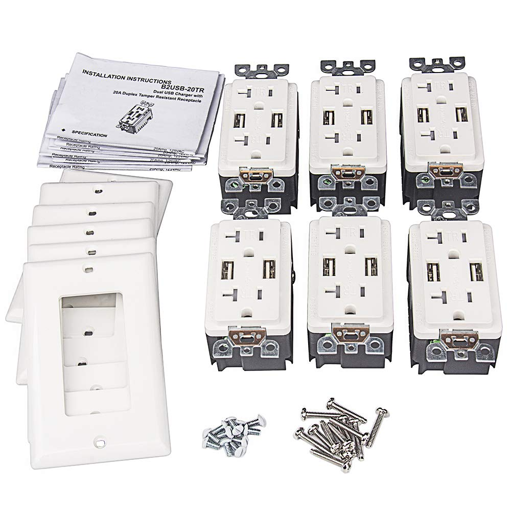 USB Outlet, 4.0A USB Outlet, USB Wall Outlet, USB Charger Outlet, Dual USB Charger with 20A Tamper Resistant Duplex Receptacle (6, White)